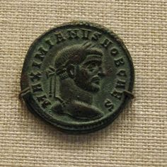 A bronze nummus of Aquileia depicting Galerius, 294 CE (Metropolitan Museum of…