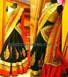 Black Silk Half Saree with Lace | Saree Blouse Patterns
