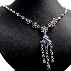 Piazza ametista viola Fiore con lucida cromatura collana Set NS1548A