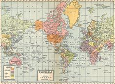 Vintage map of the world - Print on Canvas | For the Home ...