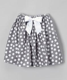 Cozy bug gray and white dot circle skirt
