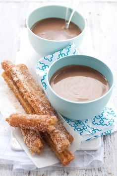 #Churros with Spiced #Chocolate Bisque