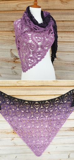 Beginner Friendly Feminine Crochet Shawls. Purple is one of the most timeless colors out there. With the skull design and super lacy pattern, it looks very feminine and mysterious at the same time. The finished shawl is approximately 62.5x46.5x46.5. Even though it might look a little complicated, it's really simple! #freecrochetpattern #shawl #wrap
