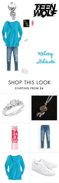 """""""Kelsey Stilinski: """"117"""""""" by nerdbucket ❤ liked on Polyvore featuring Ice, Maybelline, White House Black Market, Old Navy, Lupo and adidas Originals"""