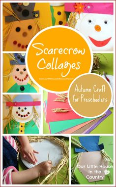 Scarecrow Collages - Autumn / Fall Crafts for Kids - Our Little House in the Country
