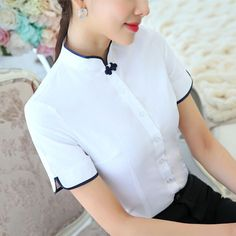 white blouse top Picture - More Detailed Picture about Plus Size Chinese Women Cotton Blouses Shirt female Short Sleeve Mandarin Collar White Blouse Tops lady plus size Summer Clothes Picture in Blouses & Shirts from Lenshin Formal Suits Store Women's Summer Fashion, Fashion Wear, Fashion Dresses, Womens Fashion, Cotton Blouses, Shirt Blouses, White Short Sleeve Shirt, Female Shorts, Mandarin Collar