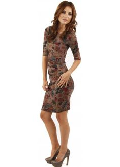 Designer Desirables Brown Autumn Print Ruched Long Sleeved Dress #midi