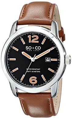 Men's Wrist Watches - SOCO New York Mens 5011L1 Madison Date Black Dial Light Brown Leather Strap Watch *** Check out this great product.