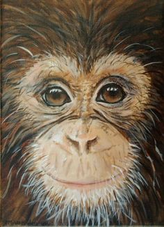 """ARTFINDER: """"DAYDREAM BELIEVER"""", acrylic 13x18cm ... by Marjan van der Kooi - Who would not love this curious monkey, observing us in innocence and reflection? A 13x18cm (5×7inch) varnished acrylic painting on stretched canvas 'floati..."""