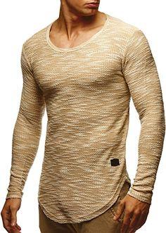 LEIF NELSON Herren Sweatshirt Hoodie Hoody T-Shirt LN6358; Größe S, Beige