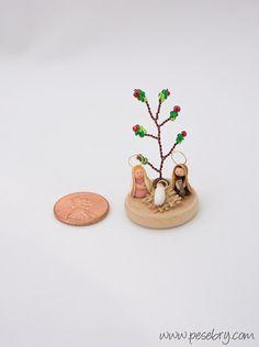 Tiniest Nativity Wire tree bead tree holy family Office