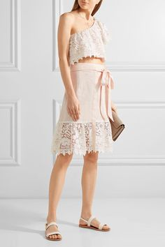 Miguelina - Doris Cropped Crocheted Cotton-lace And Linen Top - Pastel pink - x small