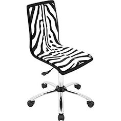 @Overstock - Add some fun to your office with this lively zebra computer chair. Caster wheels and an adjustable height make it user friendly. The exotic printed upholstery covers a well-padded seat that swivels a full 360 degrees. The legs are finished in chrome.http://www.overstock.com/Home-Garden/Printed-Zebra-Computer-Chair/6477409/product.html?CID=214117 $89.99