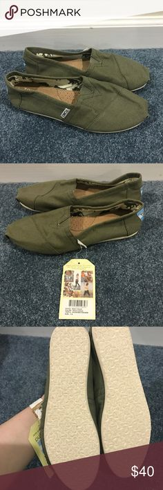 Olive Green Toms Size 7.5- BRAND NEW! Olive Green Toms Size 7.5- BRAND NEW! Toms Shoes