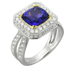 Since tanzanite is one of December birthstones, here is another option for our December ladies: This 18k white gold low-profile ring from the Pacifica collection by Yael Design features a 3.70 ct. cushion-cut tanzanite center surrounded by a subtle line of 18k yellow gold and 1.0 ct. t.w. round-cut diamonds that extend down the split-shank. www.diamonds.pro