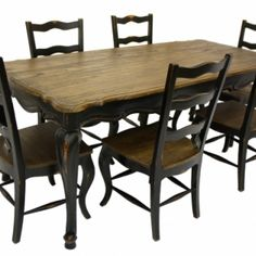 French Country Rustic Dining Table & 6 Chairs Black
