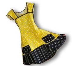Yellow figure and black trim polka dots