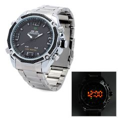 WEIDE WH2306 Stainless Steel Dual Time Display LED Wrist Watch w/ Alarm for Men - Silver - LightsCastle