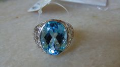 AAA quality natural blue topaz ring with blue by versaillegems