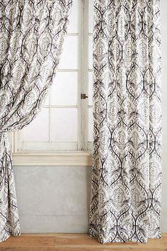 Grey Tiled Crest Curtain - anthropologie.com