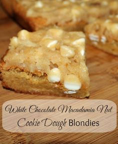 White Chocolate Macadamia Nut Cookie Dough Blondies #kidsinthekitchen #cookies