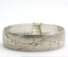 Vintage Diamond-Cut Mesh Sterling Silver Wide Bracelet Watch Band Style