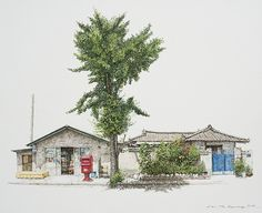 (Korea) A disappearing small store in a rural by Lee Me Kyeoung ). ink on paper with a pen use the acrylic. Building Sketch, Building Art, Korean Art, Asian Art, Landscape Drawings, Art Drawings, Watercolor Illustration, Watercolor Art, Color Pencil Sketch