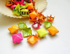 45 Assorted Pyramid Square Studs  9mm by TreeChild1 on Etsy, $2.99