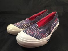 Ked's Women Size 6.5 Slip On Shoes Plaid Flower Used Blue White Red  | eBay