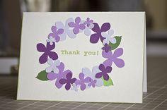 マーサのパンチを使った3色のグラデーションのあじさいはこんなカードに仕上がりました。 使いたかった「Happy Birthday」のスタンプ...