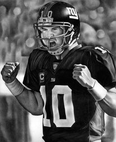 NY Giants - Eli Manning - Pencil Drawing by Jerry Winick