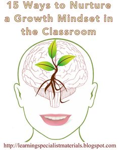 15 Ways to Nurture a Growth Mindset in the Classroom (Learning Specialist and Teacher Materials - Good Sensory Learning) Learning Tips, Brain Based Learning, Learning Theory, Social Emotional Learning, Teaching Strategies, Social Skills, Teaching Tools, Teaching Career, Teaching Resources