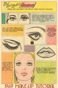 Vintage Makeup age unknown 1969 Make-up Tutorial pintrest created 1969 Vintage Beauty, Vintage Makeup Ads, Retro Makeup, Look Vintage, Fashion Vintage, Beauty Ad, Beauty Makeup, Eye Makeup, Hair Makeup