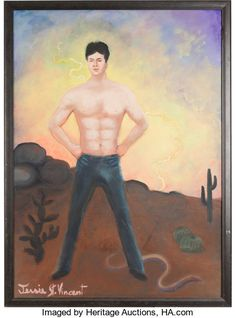 """A Mark Wahlberg-Related Oil Painting from """"Boogie Nights.""""...   Lot #46105   Heritage Auctions Punk Poster, Boogie Nights, Lp Cover, Baby Hands, Mark Wahlberg, Former President, Vintage Signs, Card Games, Movie Tv"""