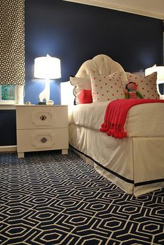 Gorgeous girls bedroom - white, navy & hot pink I think I'm going to do something like this for faith:) bright and fun like she wants and still sophisticated for use as a guest room when needed!
