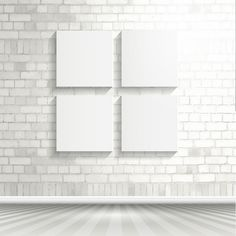 Blank canvases on a brick wall Free Vector White Brick Background, White Brick Walls, Textured Background, Stationary Branding, Chalkboard Background, Frame Template, Design Research, Blank Canvas, Nursery Prints