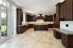 cherry kitchen white floor tile - Google Search