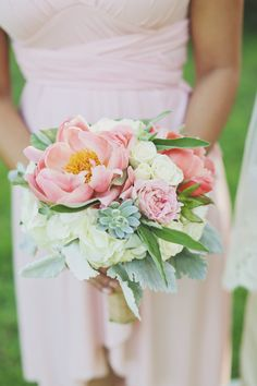 Mixed Pinks Bouquet - On http://www.StyleMePretty.com/southwest-weddings/2014/03/26/romantic-barr-mansion-wedding/ ForeverPhotographyStudio.com - Bouquet by wowfactorfloral.com