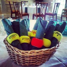 Tennis ball napkin rings.  Hmm best to use a new can of balls for formal occasions.                                                                                                                                                                                 More