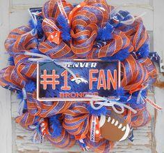 Deco Mesh Wreath- Denver Broncos- Wreath- Front Door Wreath- Football Wreath-