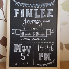Baby announcement  Baby gift   A4 chalkboard