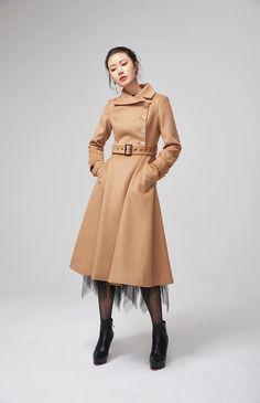 asymmetrical wool coat brown coat winter jacket womens coat fitted coat long coat elegant coat casual wool coat stylish coat by xiaolizi Long Wool Skirt, Wool Skirts, Winter Jackets Women, Coats For Women, Handmade Skirts, Stylish Coat, Wool Dress, Vintage Skirt, Wool Coat