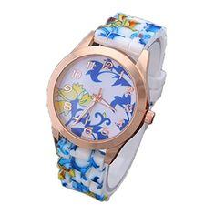 Ularma Damen Armbanduhr Mode Arabische Ziffern Silikon Armband Analog Quarz Uhr mit schönen Blumen Blau - http://uhr.haus/ularma/ularma-damen-armbanduhr-mode-arabische-ziffern-2