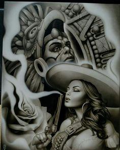 Aztec warrior w/ charra Chicano Tattoos, Chicano Drawings, Body Art Tattoos, Tattoos Pics, Arte Cholo, Cholo Art, Aztec Drawing, Mexican Art Tattoos, Aztec Tattoo Designs
