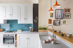 Quirky retro Shaker kitchen with Mullan Hex Pendant lighting, Quartz worktop and Shaws Classic Belfast sink Quirky Kitchen, Kitchen Decor, Kitchen Ideas, Bar Kitchen, Kitchen Small, Kitchen Dining, Kitchen Cabinetry, Kitchen Countertops, Cabinets