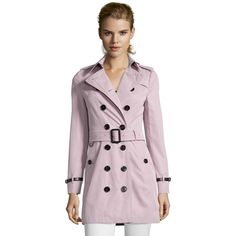 Burberry Mauve Cotton 'sandringham' Slim Trench Coat (388146701) ($1,516) ❤ liked on Polyvore featuring outerwear, coats, mauve, double breasted coat, water resistant coat, pink double breasted coat, long sleeve coat and pink coat