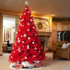 Eccentric Christmas tree in red and white. - oh my goodness I have never seen a red Christmas tree before!  It's so pretty!
