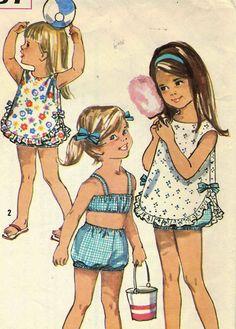 Vintage 60s Simplicity 6037 CUT Girls 2 PC Sunsuit by RomasMaison, $18.00
