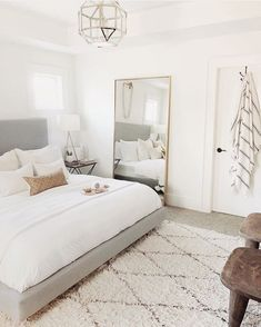 Are you a sucker for neutrals? Because this room has me feeling some type of way 😍 #bedroomgoals #bedroomideas #bedroomdesign Room Ideas Bedroom, Bedroom Inspo, Dream Bedroom, Home Decor Bedroom, Big Mirror In Bedroom, Bedroom Ideas Master On A Budget, Neutral Bedroom Decor, Condo Bedroom, Bedroom Setup