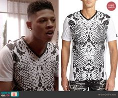 Hakeem's black and white snake print tee on Empire.  Outfit Details: http://wornontv.net/47009/ #Empire